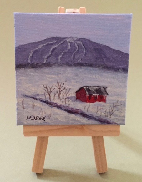 "Michael Ledden.  ""CV Ski Slopes/Barn,"" miniature acrylic painting on canvas, 3"" square, on easel. More work by this artist at his studio; contact  mledden@frontiernet.net    FMV   $35      I    GUAR PUR   $44      I    MIN BID$18      I    BID INC$3"
