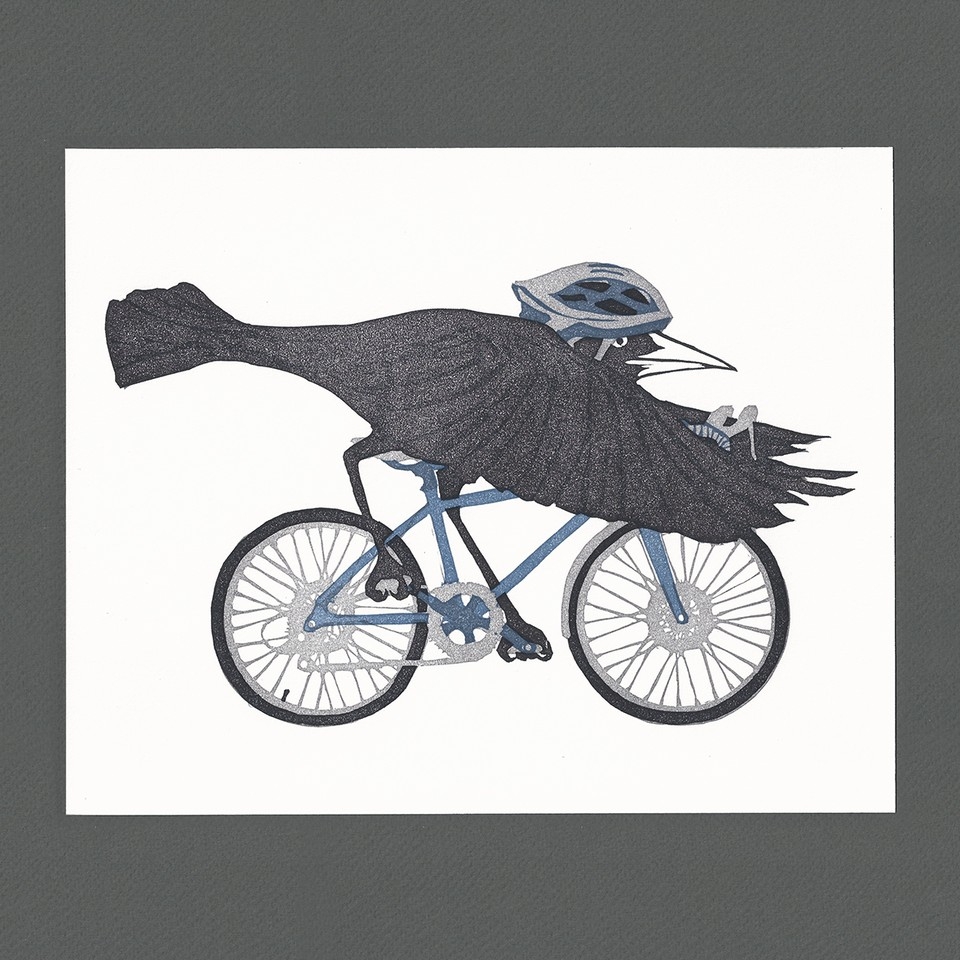"Heather O'Hara.  ""'On the Road' Grackle,"" block print on cotton rag paper 10/200, signed, 8"" x 10"", framed. More work by this artist online at   www.burdockandbramble.com     FMV   $45      I    GUAR PUR   $56      I    MIN BID$20       I    BID INC$5"