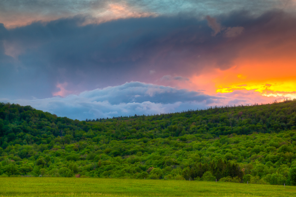 "Joseph Henry.  ""Canaan Mountain Sunset,"" digital archival photographic print, 15"" x 25"", matted as 24"" x 30"". More work by this artist at Buxton & Landstreet Gallery and online at  www.canaanvalleyphotography.com    FMV   $150       I     GUAR PUR   $188       I     MIN BID$60       I     BID INC$5"