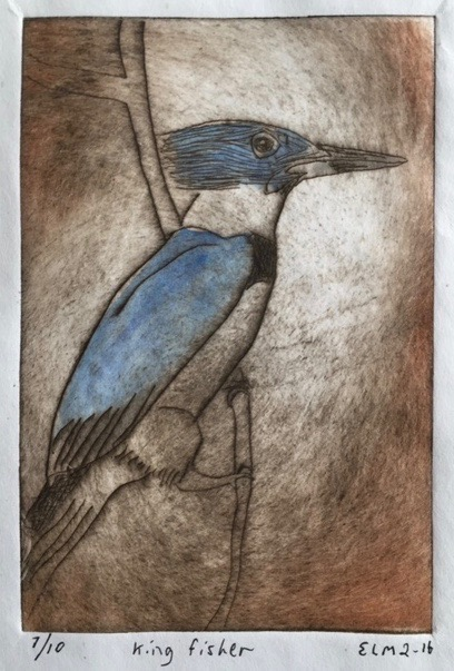 "Eddie Maier.  ""King fisher,"" etching, 7/10, image 5"" x 8"", matted & framed as 11"" x 14"" w/ conservation glass. More work by this artist at The White Room Gallery and online at  www.eddiespaghettiart.com    FMV   $110      I   GUAR PUR   $138     I   MIN BID$44      I   BID INC$5"