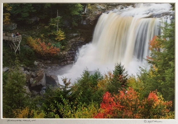 "Kent Mason.  ""Blackwater Falls, WV,"" archival photographic print, 10"" x 15"", matted to 15"" x 20"". More work by this artist at WVHighlands Artisans Gallery and Buxton & Landstreet Gallery, and online at  www.wvphotographs.com    FMV   $69      I    GUAR PUR   $86      I    MIN BID$28      I    BID INC$5"