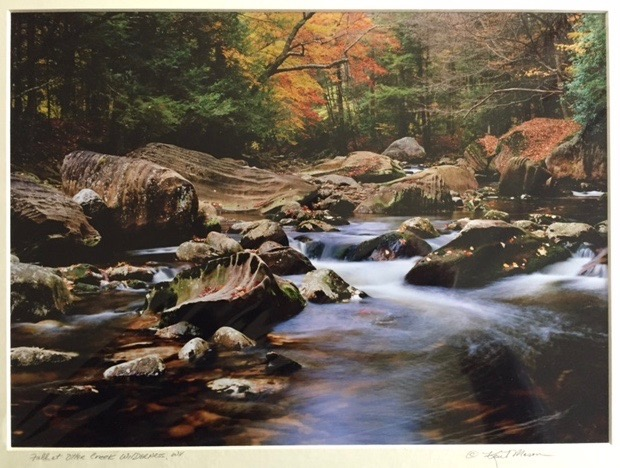 "Kent Mason.  ""Fall at Otter Creek Wilderness, WV,"" archival photographic print, 10.5"" x 14.5"", matted to 15"" x 19"". More work by this artist at WVHighlands Artisans Gallery and Buxton & Landstreet Gallery, and online at  www.wvphotographs.com    FMV   $69      I    GUAR PUR   $86      I    MIN BID$28      I    BID INC$5"