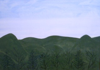 "Tom Ashton.  Untitled Landscape, acrylic on canvas, wood frame, 36"" x 26"".   FMV   $140      I    GUAR PUR   $175       I    MIN BID$56       I     BID INC$5"