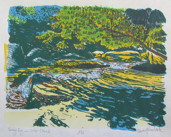 "Kevin Woodcock.  ""Sunny Day on Otter Creek,"" screen print, 1/16, 8.5"" x 11"" matted as 14.25"" x 16.5"" in wood frame.   FMV   $350      I    GUAR PUR   $438       I     MIN BID$140       I     BID INC$10"