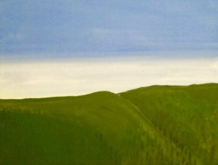 "Tom Ashton.  Untitled Landscape, acrylic on canvas, wood frame, 31"" x 24"".   FMV   $100      I    GUAR PUR   $125       I     MIN BID$40       I     BID INC$5"