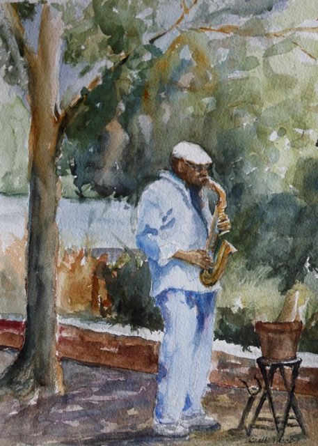 "Donell McCoy.  ""Jazzman,"" reproduction print of original watercolor, 13"" x 19"", matted and framed as 16"" x 26"". More work by this artist at Buxton & Landstreet Gallery.   FMV   $150       I     GUAR PUR   $188       I     MIN BID$60       I     BID INC$5"