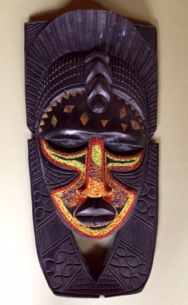 Anonymous.  African mask, stained black, face decorated w/ gold paint and bead work.   FMV   $90       I     GUAR PUR   $113       I     MIN BID$36       I    BID INC$5