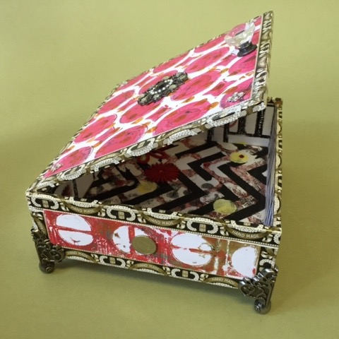 "Kathleen Keller.  ""Hurley Gurley,"" keepsake box: cigar box covered with artist's jeweled monoprints,  8.5""W x 7.5""D x 3.5""H. More work by this artist at The Studio Gallery.   FMV   $60      I    GUAR PUR   $75      I    MIN BID$28      I   BID INC$5"