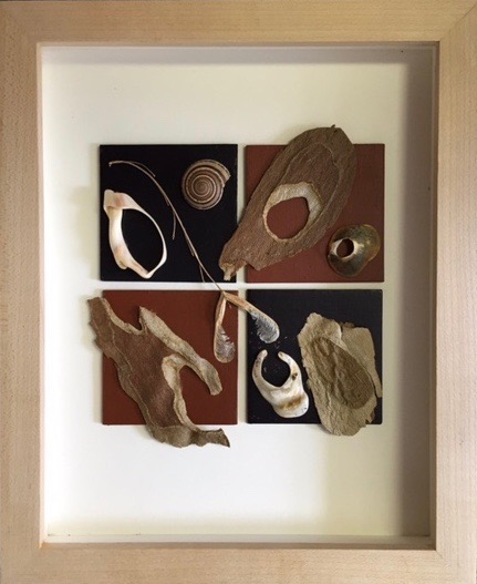 "Linda Reeves.  ""Geo/Organic,"" natural objects on geometric background in shadowbox frame, 9"" x 12"". More work by this artist at The Studio Gallery and Buxton & Landstreet Gallery.   FMV   $150     I   GUAR PUR   $188     I    MIN BID$60      I    BID INC$5"