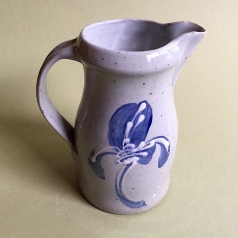 "Lynn Lais.  Stoneware pottery pitcher, form and design based on folk traditions, 7.75""H x 6.5""W. More work by this artist at WVHighlands Artisans Gallery and online at  www.spruceforest.org    FMV   $46      I    GUAR PUR   $58      I   MIN BID$20      I    BID INC$5"