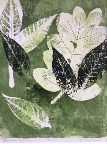 "Sue Arnson.  ""Summer Green,"" monoprint 1/1, matted as 11"" x 14"", framed. More work by this artist at WVHighlands Artisans Gallery and online at  www.westernmarylandwatercolorsociety.com    FMV   $85      I    GUAR PUR   $106      I    MIN BID$35      I    BID INC$5"