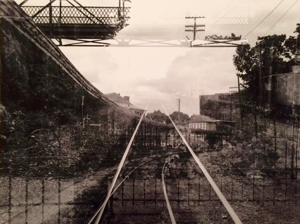 "John Ryan Brubaker.  ""Every Path Is Viable, Staunton VA, 2014,"" photographic print of 4 exposures in a single frame from a single point, 16"" x 20"", framed. More work by this artist at The White Room Gallery and online at  www.jrbrubaker.com    FMV   $100      I    GUAR PUR   $125      I    MIN BID$40      I    BID INC$5"