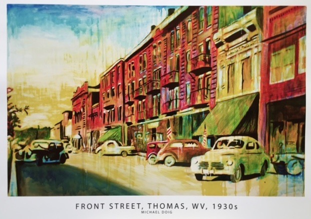 "Michael Doig.  ""Front Street, Thomas WV, 1930s,"" reproduction print of original acrylic on canvas, part of the Thomas series, 2015, framed. More work by this artist at The White Room Gallery and Buxton & Landstreet Gallery, and online at  www.etsy.com/shop/MichaelDoigArt  and  www.instagram.com/michaeldoigart    FMV   $90      I    GUAR PUR   $113      I    MIN BID$36       I    BID INC$5"