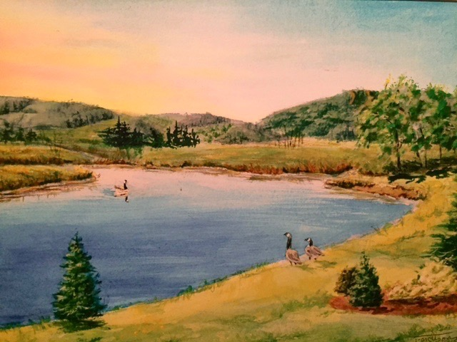 "Titi Ferguson.  ""Deerfield Pond, Coming Home,"" gicleé reproduction print of original watercolor, double matted as 16"" x 20"". More work by this artist at WVHighlands Artisans Gallery and online at  www.wvhighlands.net    FMV   $60      I    GUAR PUR   $75      I    MIN BID$30      I    BID INC$5"