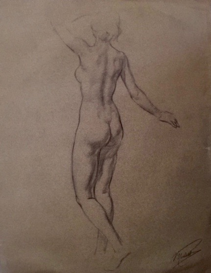"Vincent Nesbert (1898-1976).  Charcoal drawing of standing female nude, 19"" x 24.5"" matted as 24.5"" x 30.5"". See 5 famous murals by Nesbert at the Allegheny County Courthouse in Pittsburgh; more work online at various current & past art auction sites. Gift of Three Castle Antiques.   FMV   $200      I    GUAR PUR   $250      I    MIN BID$100      I    BID INC$10"