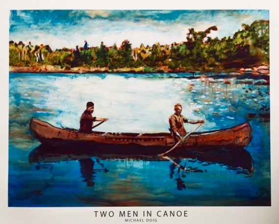 "Michael Doig.  ""Two Men in Canoe,""reproduction print of original acrylic on canvas (original in White Room Gallery); 16""' x 20"", unframed. More work by this artist at The White Room Gallery and Buxton & Landstreet Gallery, and online at  www.etsy.com/shop/MichaelDoigArt  and  www.instagram.com/michaeldoigart    FMV   $45       I    GUAR PUR   $56      I    MIN BID$20      I    BID INC$5"