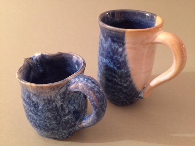 Jo Jo Patterson. Café au lait set, hand thrown ceramic pitcher and mug, speckled blue and yellow glaze. FMV  $34  I  GUAR PUR  $43   I  MIN BID$16  I  BID INC$3