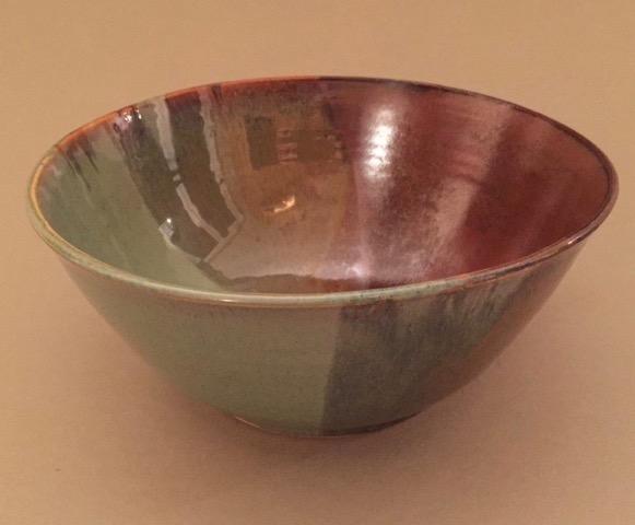 "Lori Haldeman. Hand turned deep ceramic bowl, 9"" diam., 4"" H FMV  $?? I  GUAR PUR125% of FMV I  MIN BID40% of FMV I  BID INC$5"