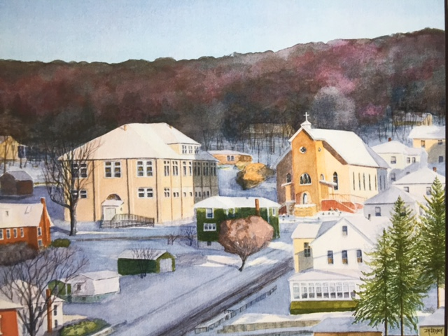 """St. Thomas Church"" by Mike Ledden Auction Item #125     Photographic reproduction of original watercolor"
