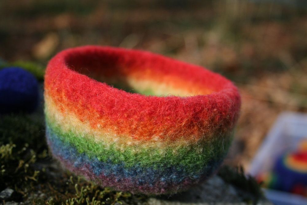 Catch-All Rainbow Bowl by Sandy Frank Auction Item #103  Wool