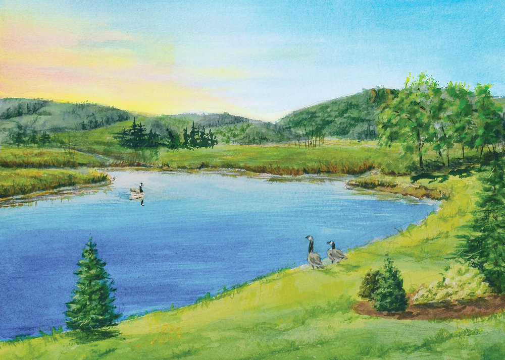 """Deerfield pond, Coming Home"" by Titi Ferguson Auction Item #102   Watercolor"
