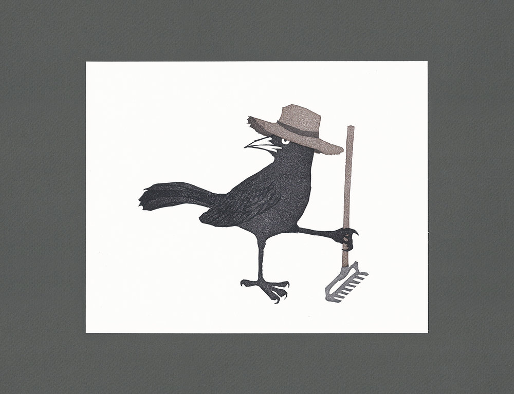 """Farmer Grackle"" by Heather O'Hara Auction Item #106   Block print on paper, framed"