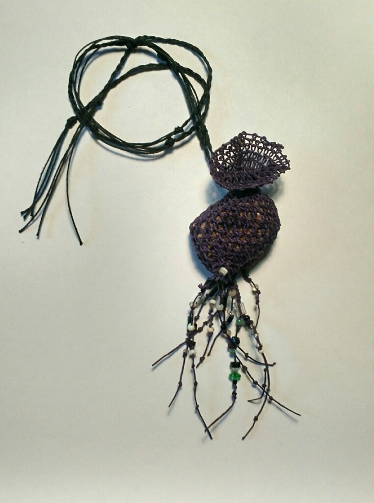 Looped Pouch necklace by Jill Jarom Auction Item #104 Waxed linen, antique beads, found stone from Allegheny Trail #701
