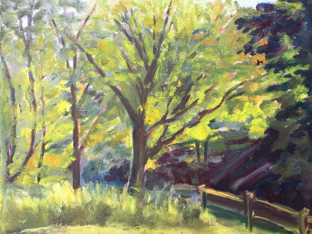"""Horseshoe Run"" by Ruth Melnick Auction Item #142     Plein air oil on canvas panel, framed"
