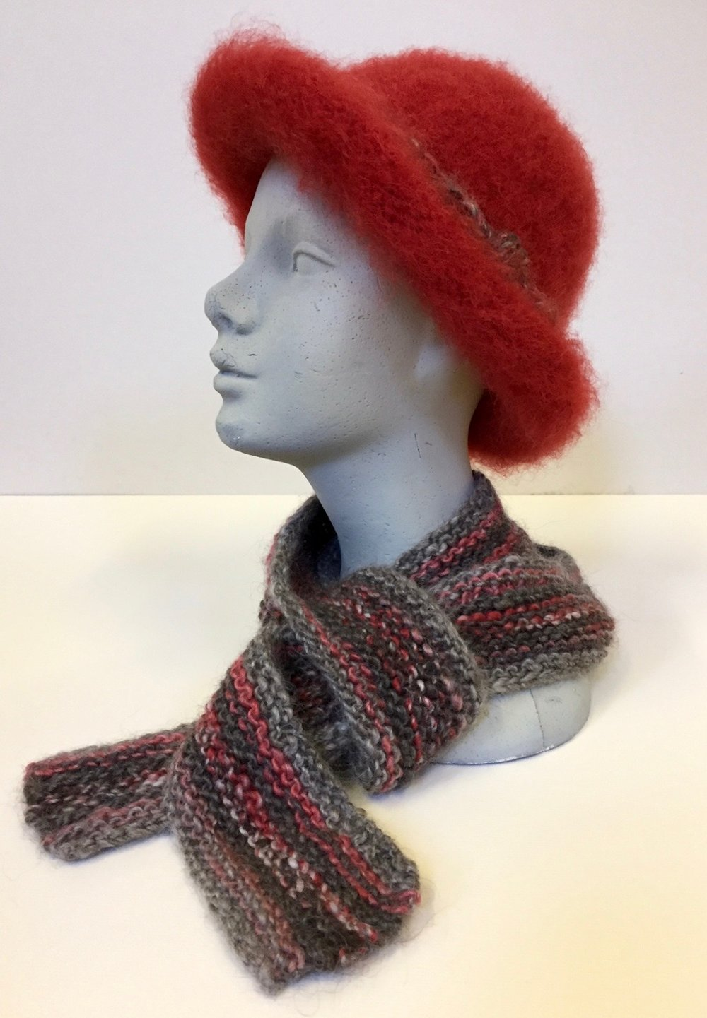 Felted Wool Hat and Hand-knitted Scarf by Betsy Viola Auction Item #110 and #111