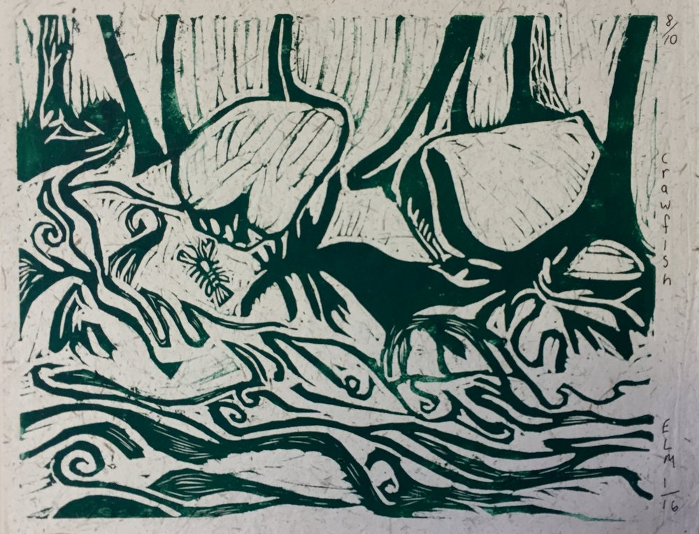 """Crawfish"" by Eddie Spaghetti Auction Item #131   Linocut printing"