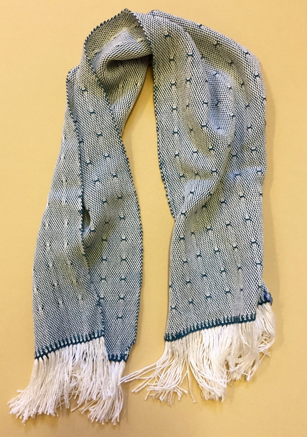 Handwoven neck scarf by Sarah Fletcher Auction Item #118   Bamboo and Silk weft, Rayon warp