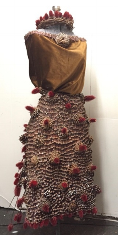 Pine Dress by Shelagh Sitterson Auction item#156     Pine cones, thistle, velvet