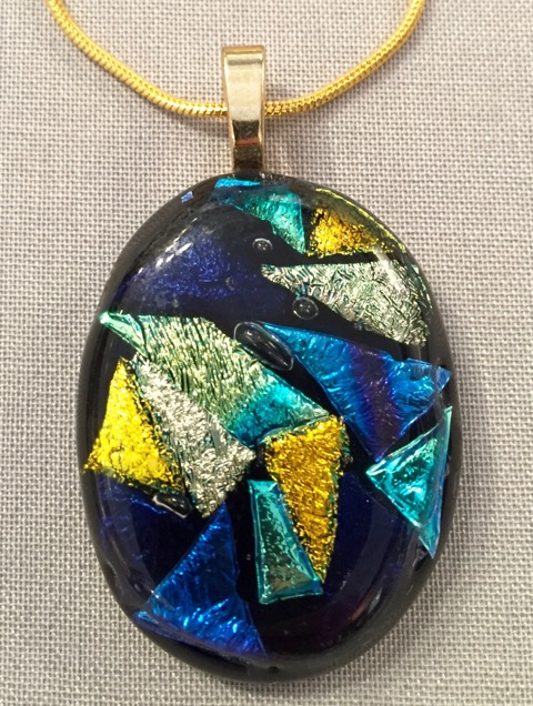"Glass Pendant on chain by Jill Turrentine Auction Item #167    Fused glass, 18"" chain"