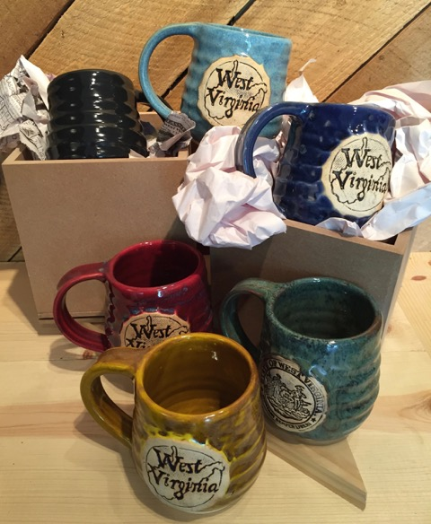 West Virginia Mugs (6) by Ben Nelson Auction Items #159 - 164    Ceramic - brown, teal, red, navy, turquoise, black