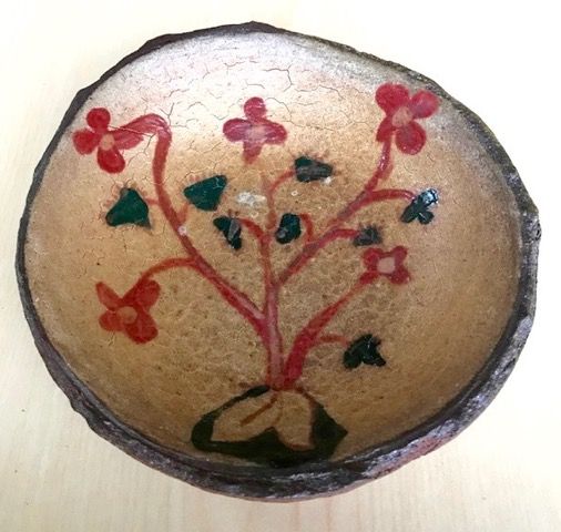 """Aztec Flowers"" by Nicole Rose Auction Item #168   Ceramic Platter, Wood fired stoneware,  7"" diameter"