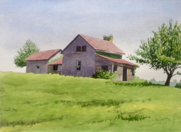 """Old Farmhouse"" by Greg Arens Auction Item #175  Watercolor, 16"" x 18"""