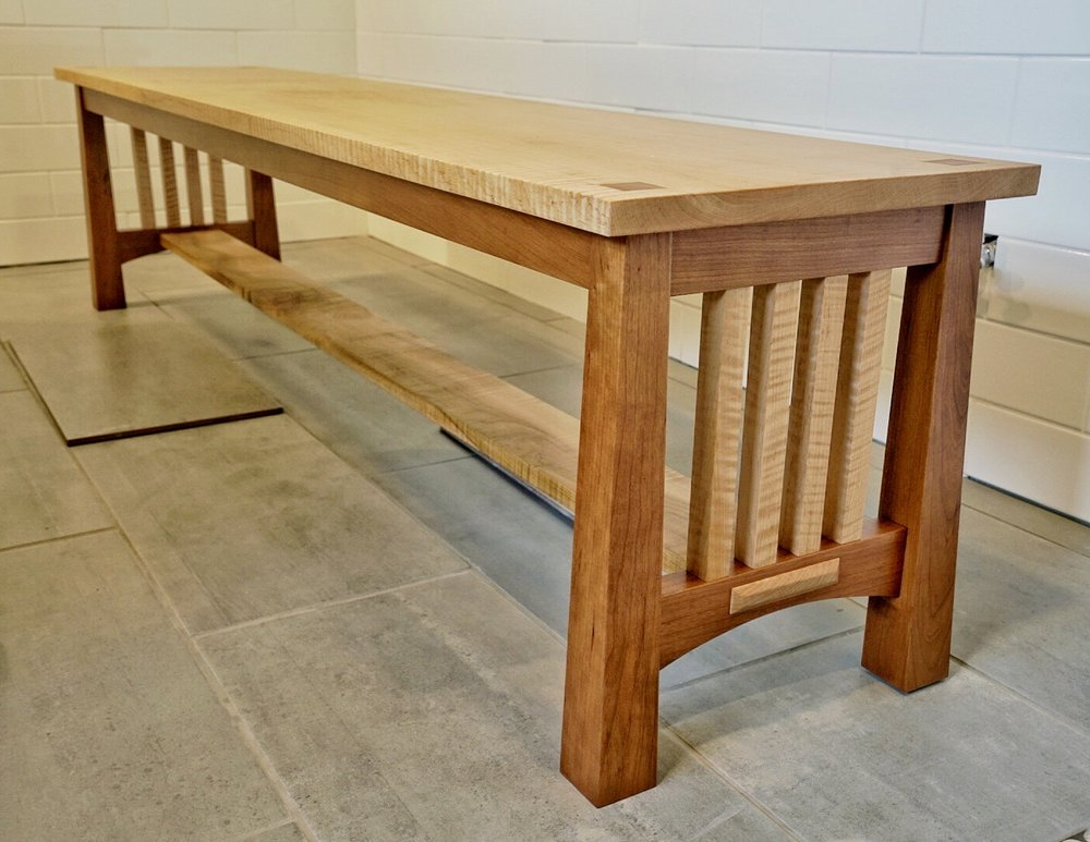 "Hand-crafted Mission Bench by Tom Tillman  Tiger Maple and Cherry,  18"" x 72"" x 16"" Auction Item #112"