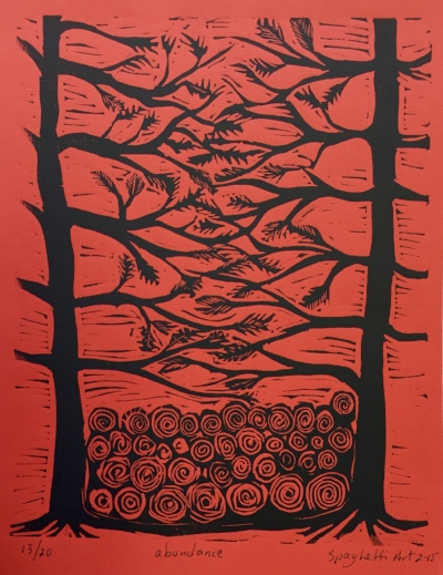 """Abundance"" by Eddie Spaghetti Auction Item #130     Linocut printing"