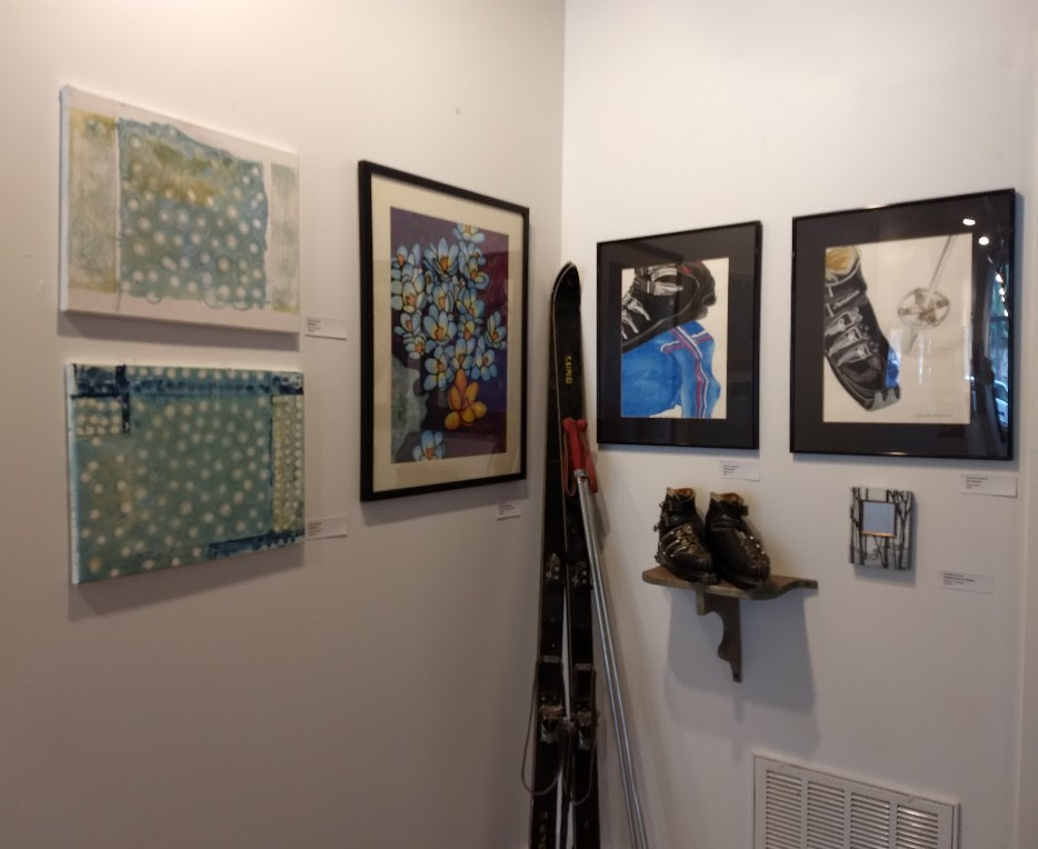 Artwork (from left to right) by Paul Lucchesi, Maggi Rhudy, Nanette Seligman, and Meredith Young