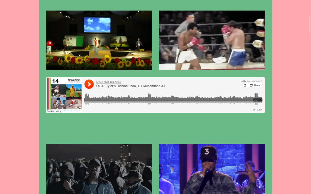 Episodes Archive section of the site, which had two gif's playing above each show.