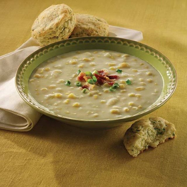 Corn Chowder today.  Sweet corn, tender potatoes and sautéed onions in a roux-thickened vegetable stock with light cream and a pinch of sea salt.