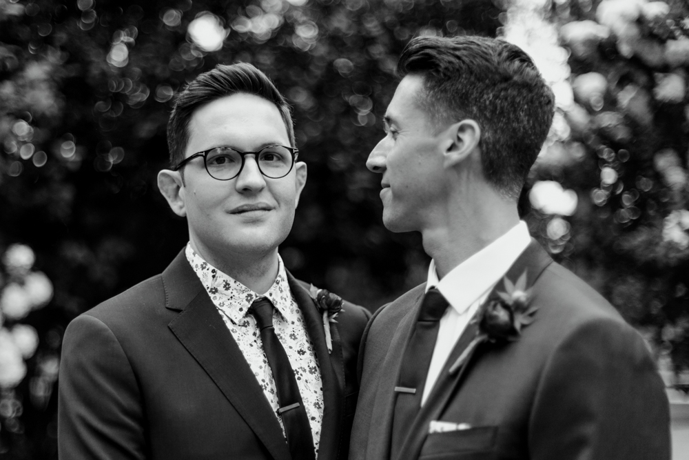 Black and White Same Sex Wedding Couple