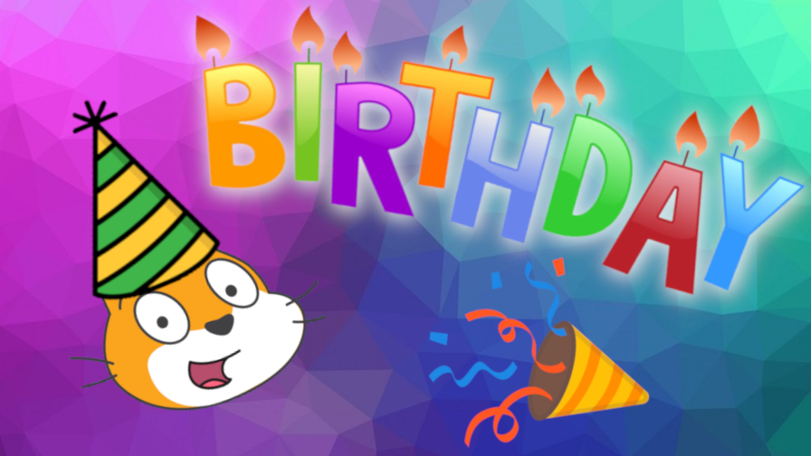 We made an animation in Scratch for Coder Kids' 4 year anniversary!