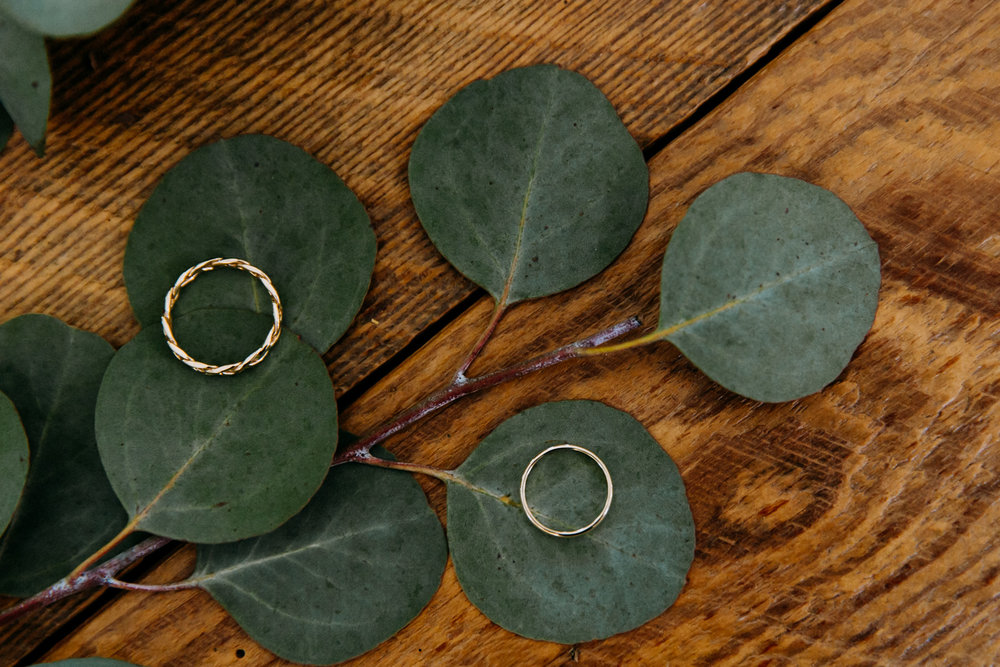 Wedding rings and eucalyptus