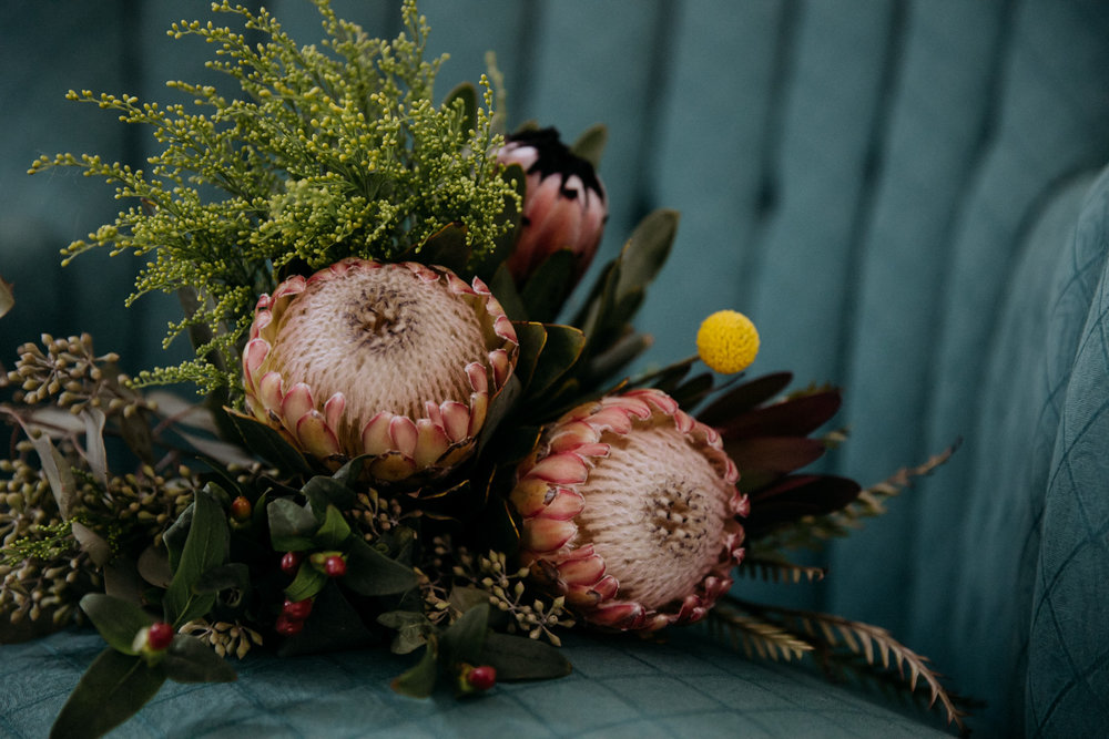 Bride's DIY bouquet of proteas