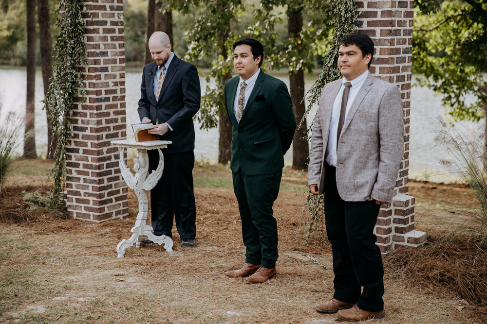 The groom and groomsmen waiting for the ceremony
