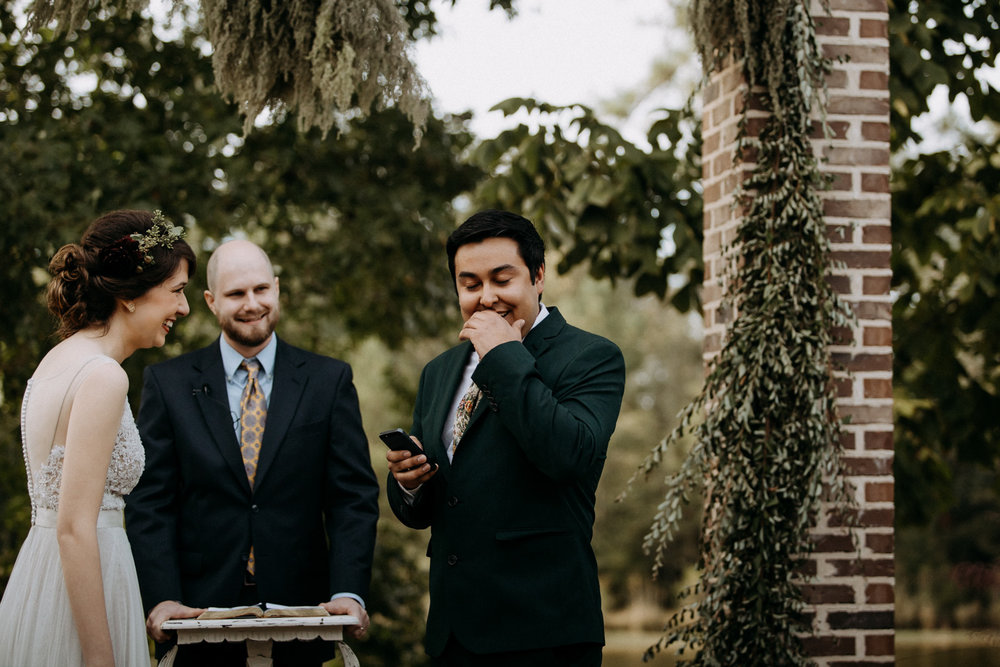 The groom getting emotional during his vows