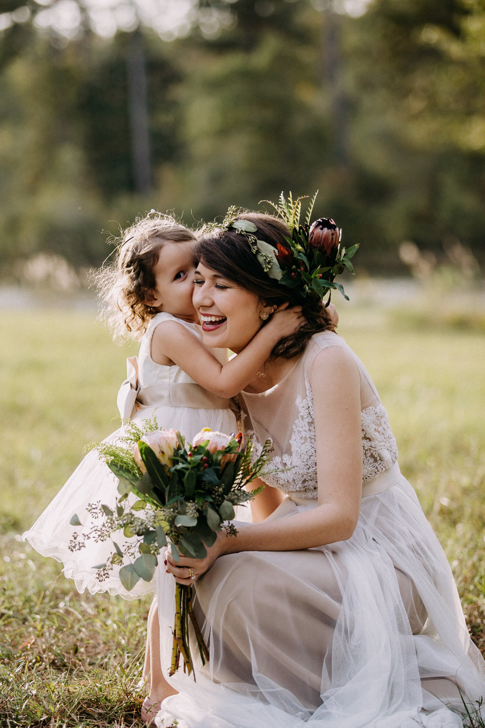 The bride and her flower girl