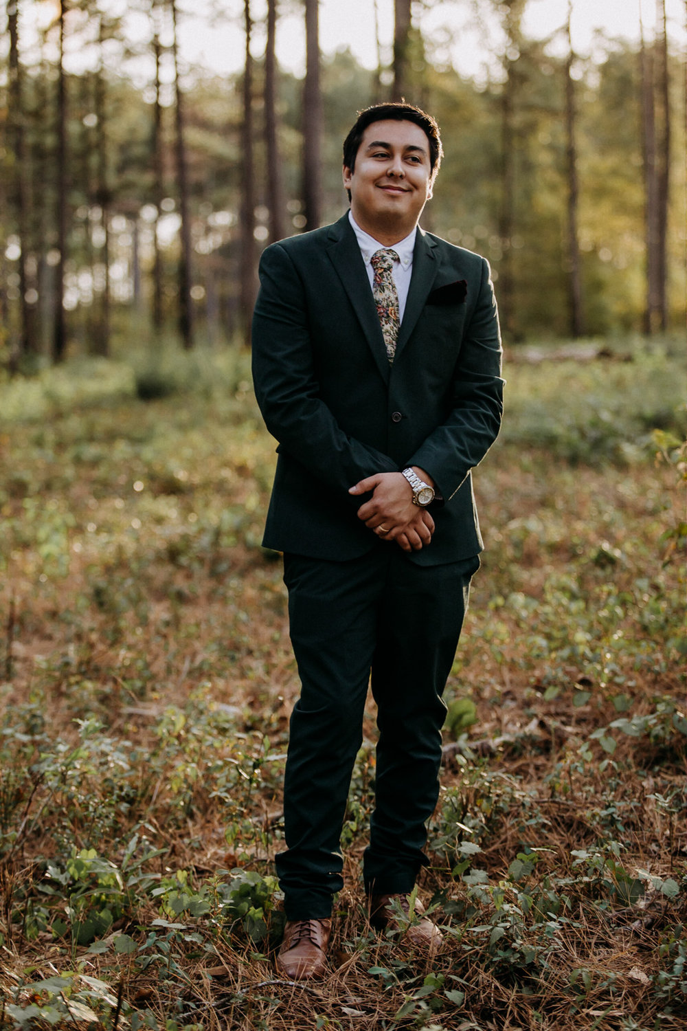 Groom in the woods
