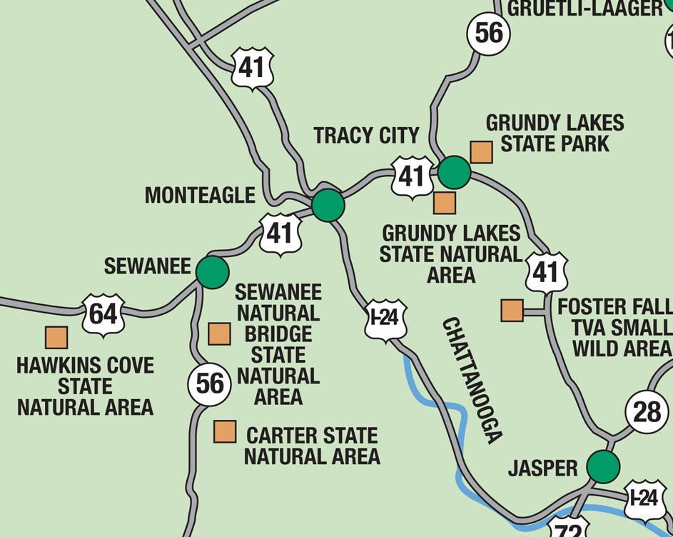 Scenic Excursion Area Map Overview